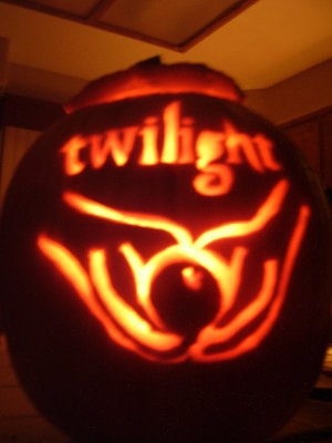 Twilight theme carved pumpkin
