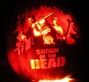 Carved pumpkin Shaun of the Dead