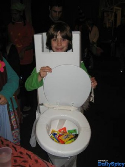 Kid Dressed up as a Mobile Toilet - Really Funny!!