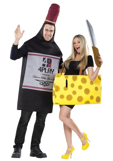 Hot Couple Dressed Up as Beer and Cheese