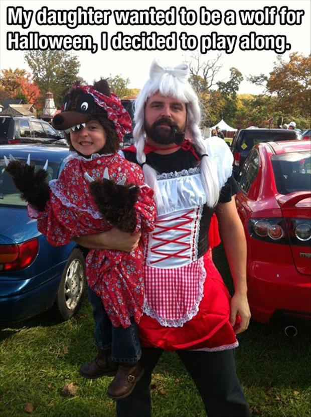 Father-Daughter in Wolf Costume