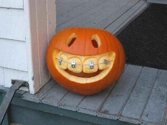 Funny Halloween Pumpkin Got Braced Teeth